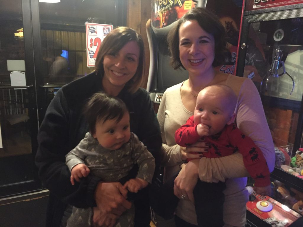 {Not only did Ben go to his first townie bar, but he met Cousin Tara and her son Brody (and her other son Braden). Brody and Ben were due a day apart!}