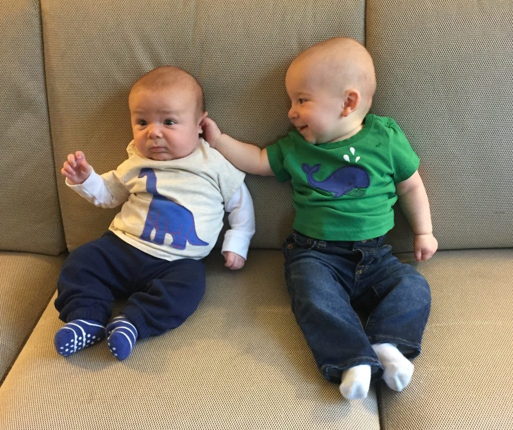 {Ben is checking out his cousin Nico! They got to meet for the first time in Arizona. The boys are about 7 months apart.}