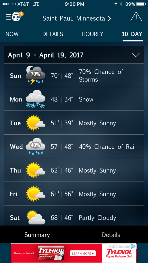 {Mid 70s, thunderstorms and snow all in 3 days... only in the Midwest!}
