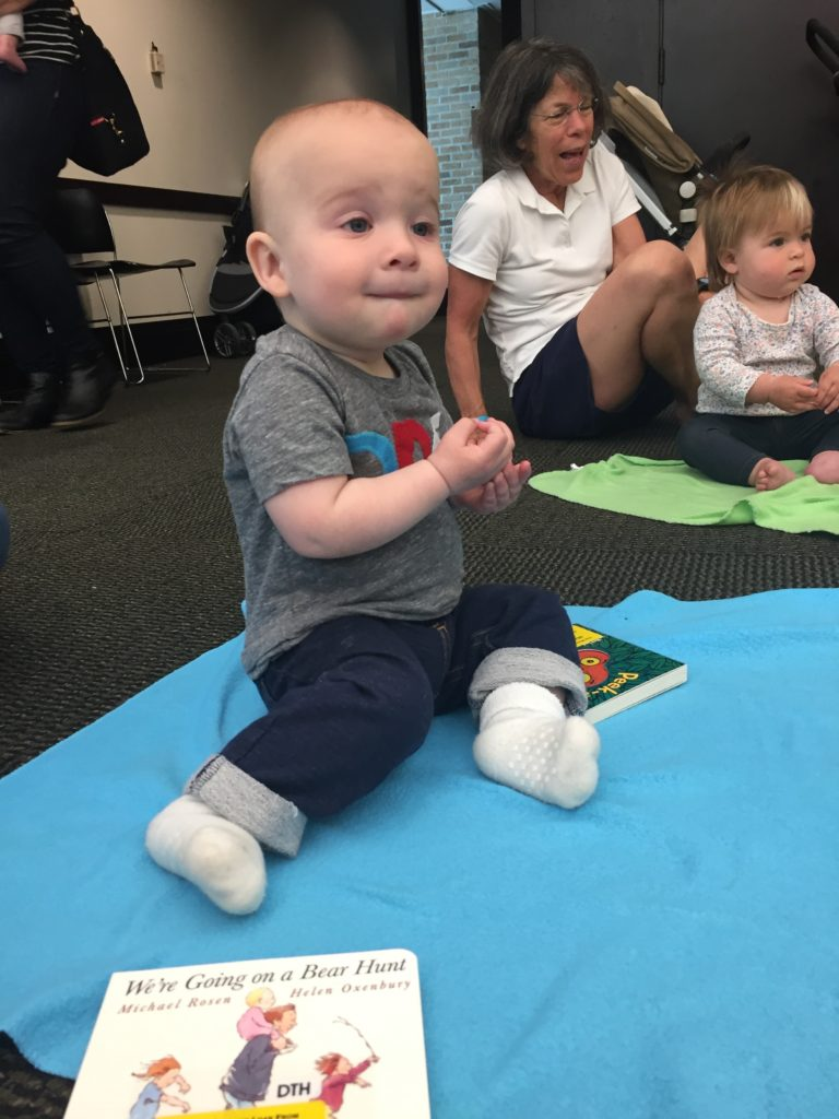 "{My friend Nicole sent me this picture of Ben at story time on his birthday. Our nanny took him there. Nicole shared with me that the whole group was singing ""Happy Birthday"" to Ben. I really wished I could have been there to see that sweet moment.}"